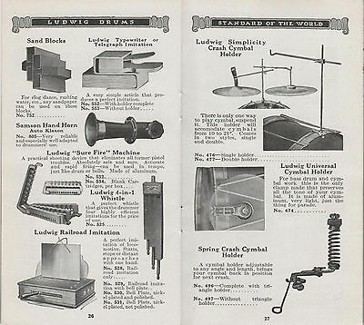 """Ludwig & Ludwig Sound Effects - """"Copies"""" from 1920-21 Catalogs"""