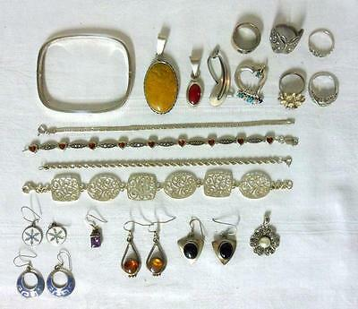 20 Piece Sterling Silver Jewelry Lot Rings Bracelet Earrings Pendants