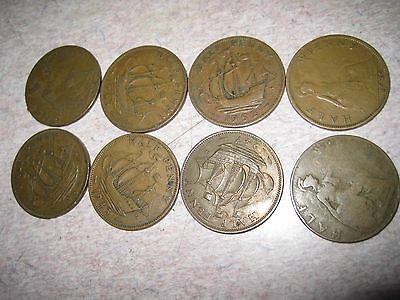 Lot of 6 Old English Large half  Penny Coins of England mixed dates