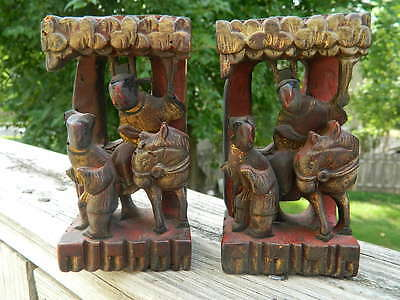 Antique Chinese Wooden Carvings (Pair)