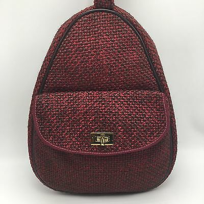 RARE Vintage Celebrity New York NY USA Travel Bag Tote Case Toiletry Wool Red