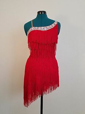 Latin Ballroom Competition Dance Dress Fringe with Crystals throughout Size S