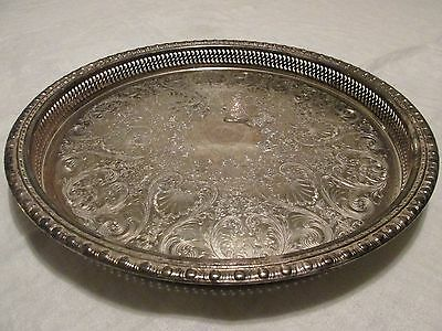 """Large Vintage Round Silverplate TRAY Pierced GALLERY SHELL & SCROLL Motif 15"""""""