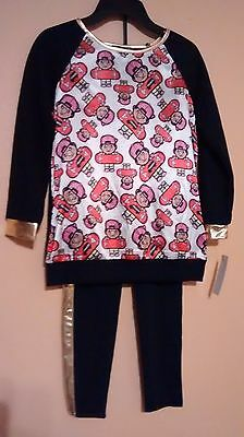 Girls Trukfit 2 Piece Black And Gold Jogger Set - Girl's Size 7