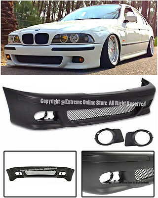 M5 Style Front Bumper Cover W/ Fog Light Cover For 96-03 BMW E39 5-Series 4Dr