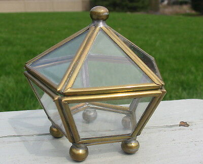 Vtg Hexagonal Footed Curio Mini Cabinet Box Glass Brass Jewelry Display Antique