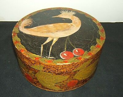 """Hand Painted Round Wood Trinket Box by Marie Colette ~ 7"""" Diameter and 3"""" Deep"""
