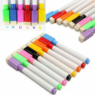 8 Colour in 1 Dry Wipe White Board Markers Pens Built In Eraser Colorful