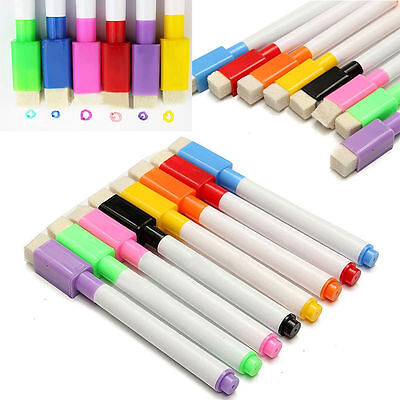 8 Colour in 1 Magnetic Dry Wipe White Board Markers Magnet Pens Built In Eraser