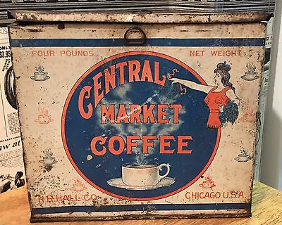 Vintage Central Market Coffee Tin / Can / Box / Store Display - Hall / Chicago