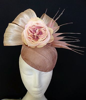 Cream Nude Pink Rose Flower Feathers Bow Loops Hat Fascinator Races Wedding