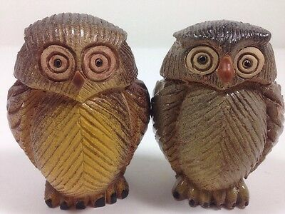 Pair of 2  Owl Figurines Artesania Rinconada made in uruguay. signed by artisans