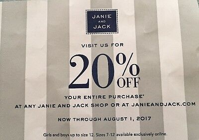 Janie and Jack 20% OFF Your ENTIRE Purchase Expires August 1, 2017