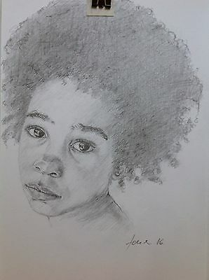 Portrait Of A Child Pencil Drawing Girl With Earring Original Art Realistic A4
