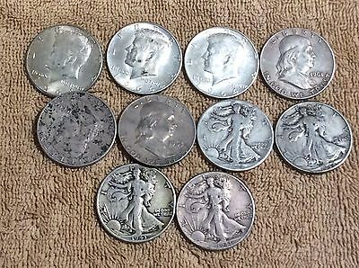 Lot Of Ten 90% Silver Half Dollars $5 Face Value +$2 Silver Coins