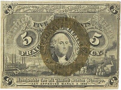 Us Five Cent Fractional Currency 2Nd Issue 1863