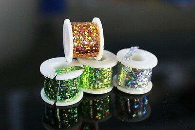 4 Spools Wide Flashabou Tinsel Holographic Flat Mylar Crystal Flash Fly Tying