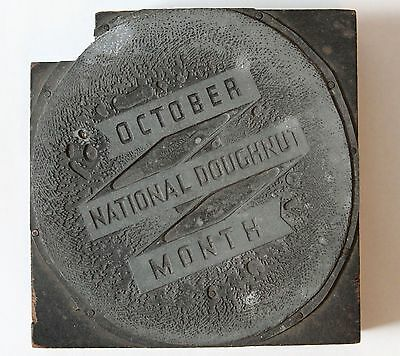 National Doughnut Month Vintage Letterpress Printing Block Stamp October Bakery