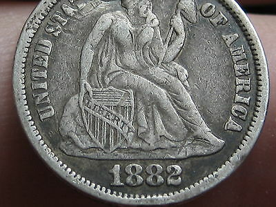 1882 P Seated Liberty Silver Dime- Fine/VF Details