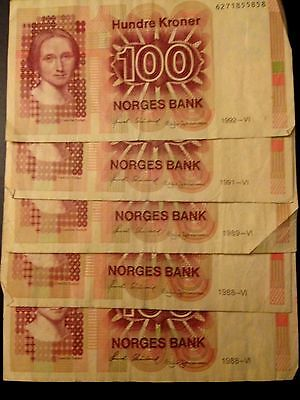 Norway 5 x 100 Hundre Kroner BankNotes Norges Bank