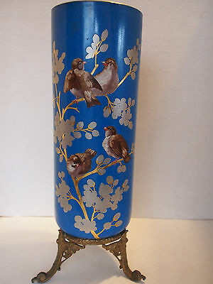 "16"" Antique French BOULANGER CHOISY Robin Bird Chinoiserie Turquoise Metal Vase"
