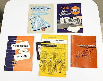 5 Gulf Oil Service Business Manuals Vtg 40s 50s Record Keeping Dealer Outlets