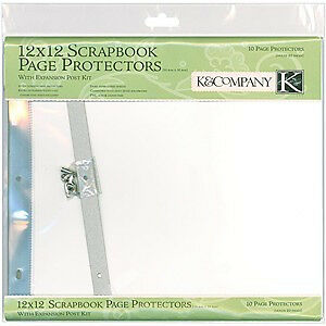 K&Company  - Post Bound Page Protectors 12 Inch X12 Inch  10 Pack  W/White In...
