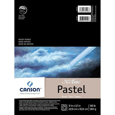 NEW Canson Mi-Teintes Pastels Paper Pad 9 inch X12 inch Black 24 Sheets
