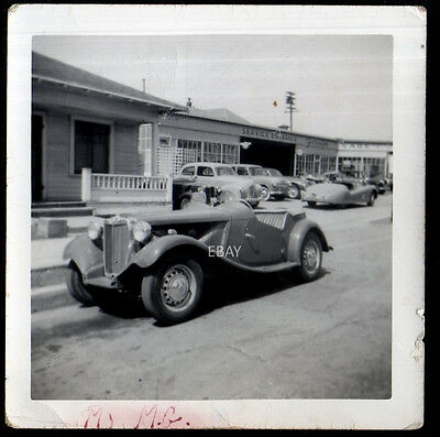 1950s MG TD Race Car - Original Racing Track Photo Hot Rod Exotic Sports Car