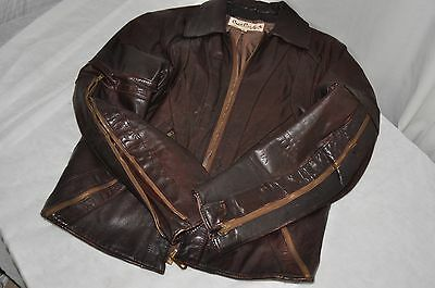Crae Carlyle vintage leather slim fit cafe motorcycle jacket men's M 44