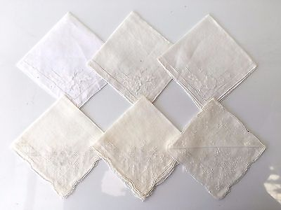 7 Vintage Cotton Ladies Handkerchiefs, Hemmed & Delicate