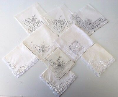 9 Vintage Cotton Ladies Handkerchiefs, Hemmed & Delicate