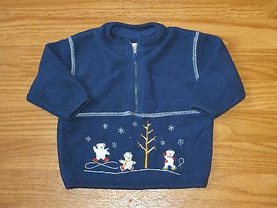 Little Wonders Baby Boy 3-6 Months Fleece 1/2 Zipper Pullover Navy Blue Bear GUC
