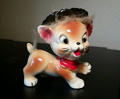 Vintage Japan Ceramic Kitten Kitty Cat Figurine with Attached Fur wearing hat