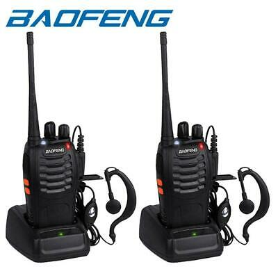 2 * Baofeng 2-Way Radio Walkie Talkie Long Range UHF 400-470MHZ 16CH Headsets UK