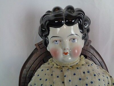 """China Head Doll German LG 24"""" Antique Dress Black Curly Hair Center Part Lovely"""