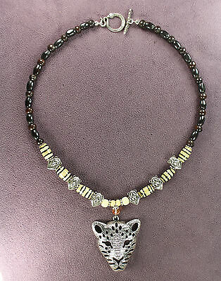 WILD CAT TOTEM NECKLACE Pendant Leopard Lion Shamanic Tribal Snake Buffalo Bone