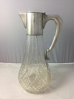 Austro-Hungarian .800 Silver Claret Jug Pitcher Cut Glass A Bachruch