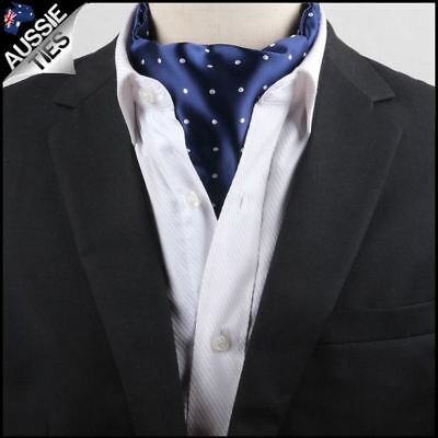 Men's Blue with White Polka Dots Ascot Cravat