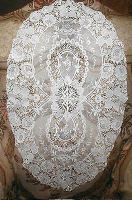 Exquisite Antique Brussels Princess Lace Centerpiece Doily Hand Made Lace EXCLNT