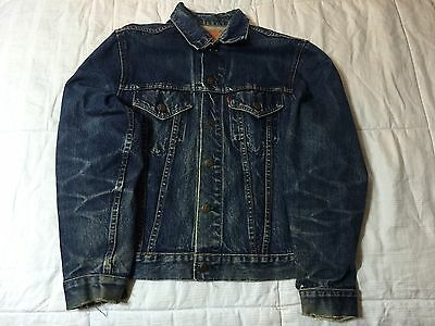 Vintage 60s Levis Big E Jacket Amazing Wear Denim Trucker Indigo Blue