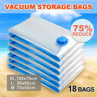 18 X Vacuum Storage Bags Saver Seal Compressing Space Saving Medium Large Super