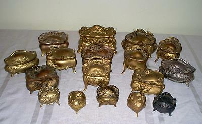 Lot of 17 Victorian Antique Ornate Jewelry Caskets Boxes Heart Shaped Florals