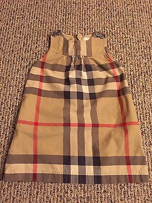 Burberry Children Dyran Beige Multi Girl 4Y Check Button Shoulder Dress