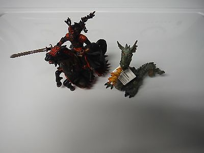 Papo Dragon and Knight w/ Horse Figures