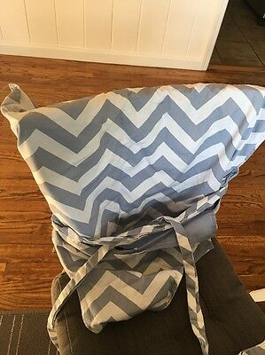Tie Chair for Kids Reversible Baby Blue Chevron