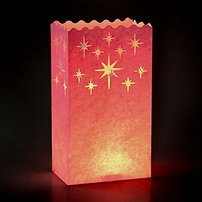 GIFT HOUSE INTERNATIONAL SACCHETTTI CANDLE LANTERN FANTASIA STELLE ROSA Nuovo