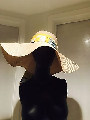 76f6154c EMILIO PUCCI NATURAL Straw Hat With Scarf Tie Blue Purple White ...