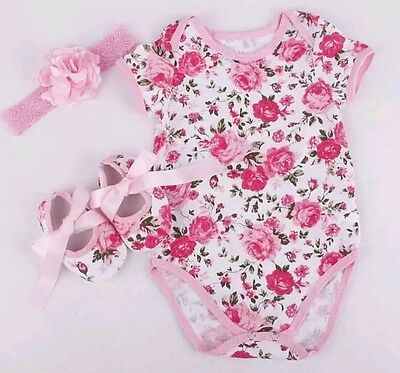 3pcs Newborn Baby Girl Floral Romper Bodysuit Outfits Headband Shoes Set Clothes