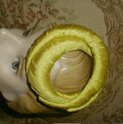 Oh My! 1950s BALENCIAGA PARIS label Miniature Coiled Snake Hat Chartreuse Silk